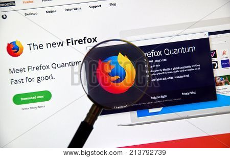 MONTREAL CANADA - NOVEMBER 14 2017: Firefox Quantum home page. Firefox Quantum is a version of Mozilla s internet browser said to be significantly faster and more efficient than its competitors.