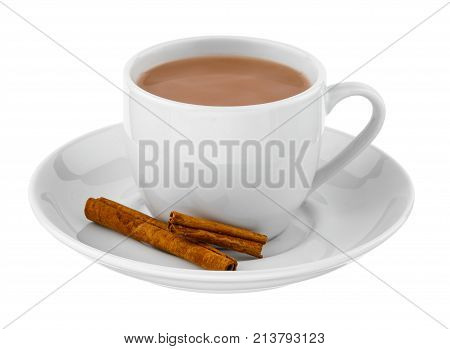 White cup of hot drink on saucer with slices of cinnamon close-up on white isolated background