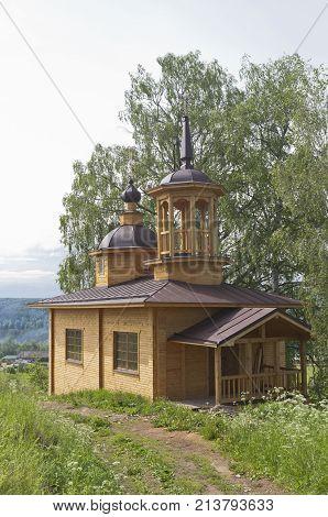 Newly built chapel of Our Lady of the Assumption in a village Markovskaya, Verhovazhskogo district, Vologda region, Russia