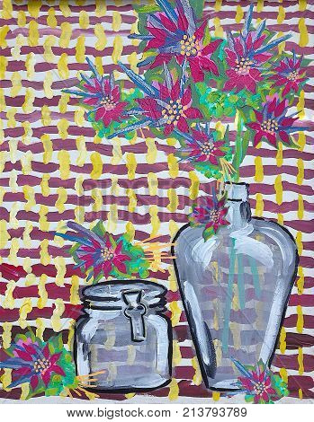 Acrylic painting on canvas of flowers in jars