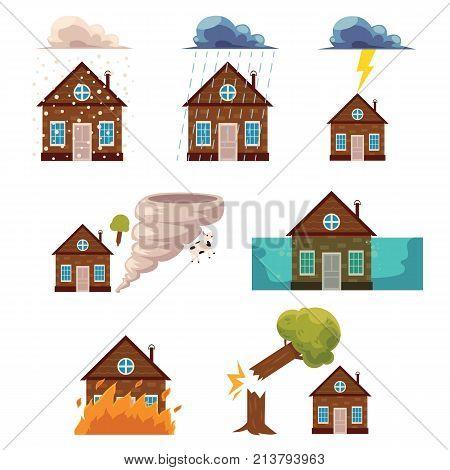 Vector flat house insurance concepts set. House being damaged by wind, rain, lighting fire, snow, tornado hurricane or whirlwind, by flood and falling tree. Natural disaster insurance scenes isolated.