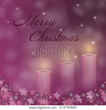 Christmas time. Advent with three candles and Christmas landscape. Text : Merry Christmas.