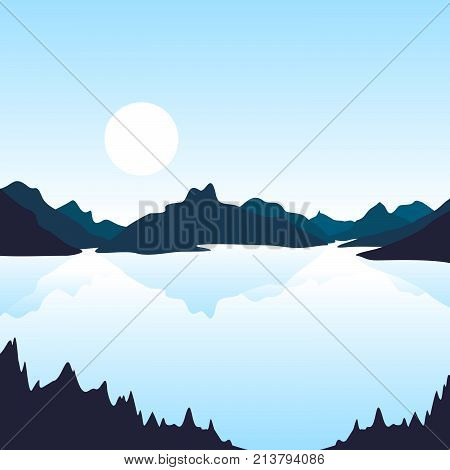 Summer landscape of nature. Nature and landscape. Landscape mountain forest and lake. Advertising background travel and camping. Mountain forests and rivers. National Park. Background gaming