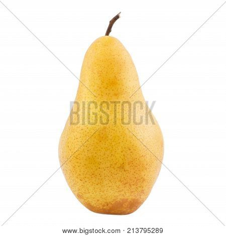 Pear yellow, juicy, mature standing close-up on white isolated background