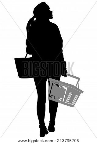 Silhouette of a woman walking with shopping basket - vector