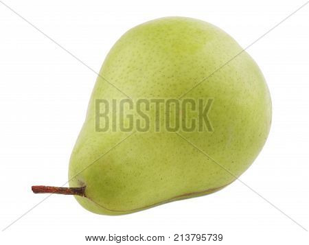 Green pear juicy and useful turned tail to the left on a white isolated background