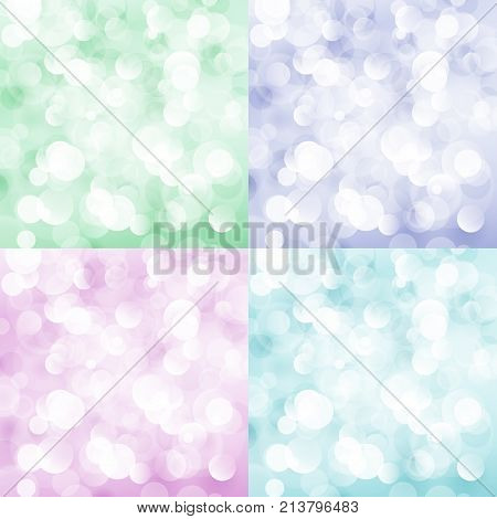 Set of Soft Bright Abstract Bokeh Background Soft Glow of the Sun Colorful Defocused Lights Vector Illustration