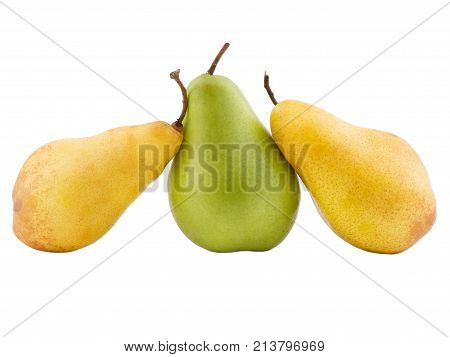 Two yellow pears spiraling on a green pear in the middle on a white isolated background