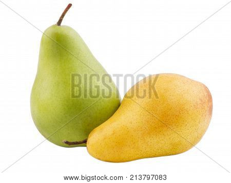 Two pears yellow and green, one stands another lays the color on a white isolated background