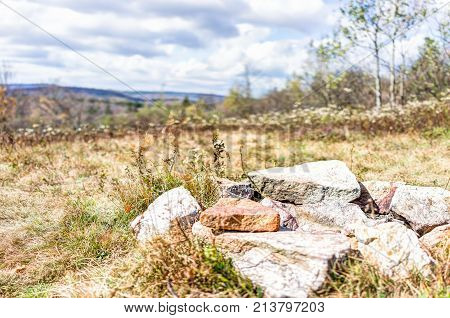 Closeup Of Fire Pit On Backpacking Campsite Made Of Rocks And Stones In Meadow Field In Dolly Sods,