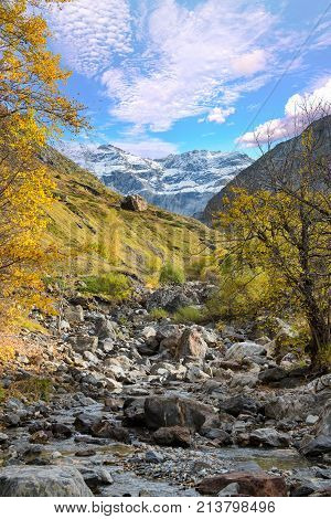a view of the cirque of Troumouse in the Pyrenees mountains