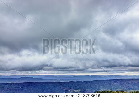Morning Dark Sunrise With Cloudy Sky In Dolly Sods, Bear Rocks, West Virginia With Dramatic Cloudsca