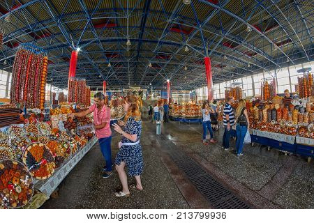 YEREVAN, ARMENIA - AUGUST 03, 2017: Central Market of Yerevan selling Armenian food and sweets