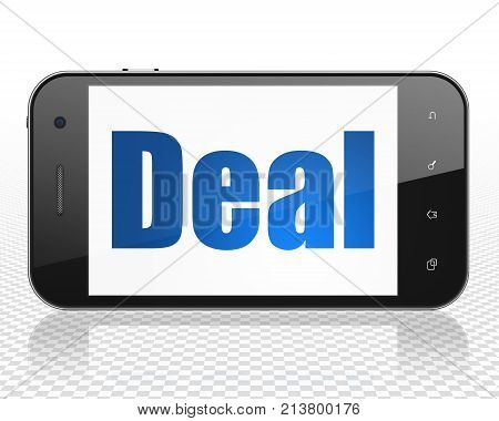 Finance concept: Smartphone with blue text Deal on display, 3D rendering