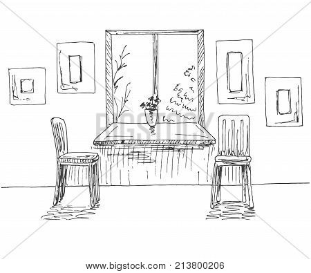 Hand drawn window with a wide window sill. Next to the two chairs on the wall of the frame. Vector illustration of a sketch style.
