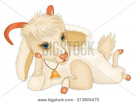 Cartoon young cute goat with a hand bell and blue eyes coquettishly looks