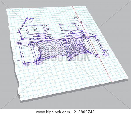 Hand drawn sketch of the interior on a notebook sheet. Sketch the room. Desk various objects on the table. Sketch workspace. Vector illustration
