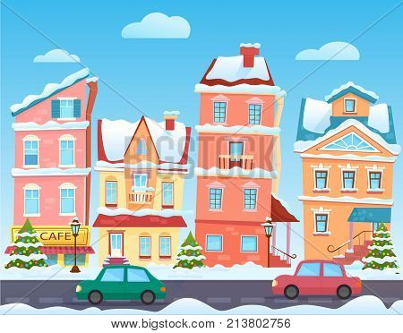 Winter cartoon city landscape. Christmas background with funny houses. Snowy town at holiday eve. Vector illustration
