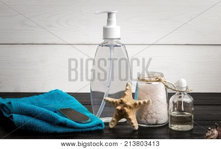 Foot care and cosmetics. Pedicure accessories set: pumice, towel, sea salt. Various bath accessories. Items for the spa. Still life. Copy space