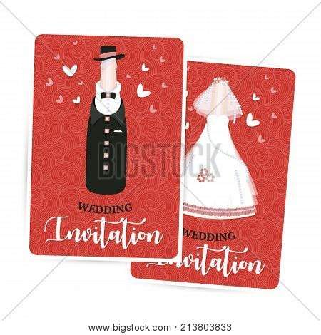 Wedding invitation, newlyweds, bride and groom, a bottle of champagne, red card design template, vector illustration