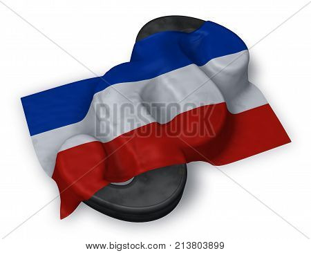 paragraph symbol and flag of schleswig-holstein - 3d rendering