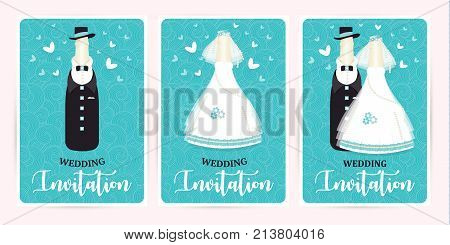 Turquoise wedding invitation card. Marriage. champagne bottle in a suit and a dress newlyweds, vector illustration.