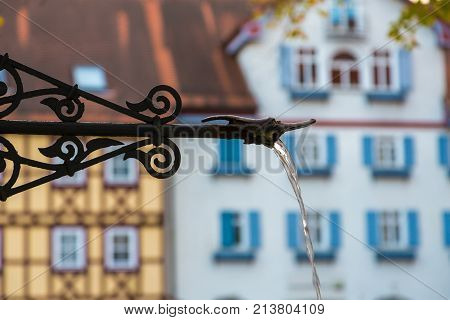 Old city fountain on square in Bad Wimpfen, Baden-Wurttemberg, Germany