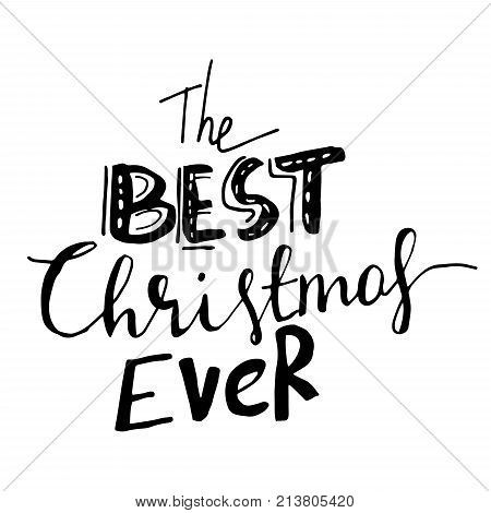 Christmas hand lettering with bouncing letters signature black vector illustration.