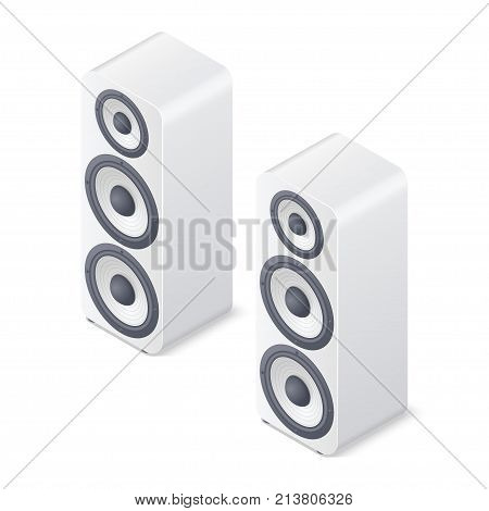 3D stereo system. Speakers isolated on white background. Isometric vector illustration