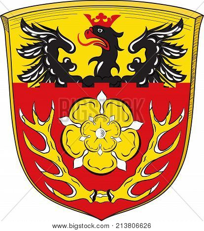 Coat of arms of Hildesheim is a district in Lower Saxony Germany. Vector illustration
