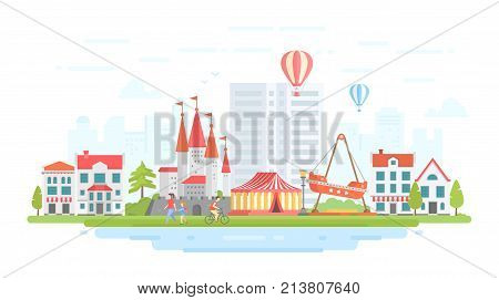 Amusement park - modern flat design style vector illustration on urban background. Lovely cityscape with attractions, circus, castle, houses, people walking. Entertainment concept