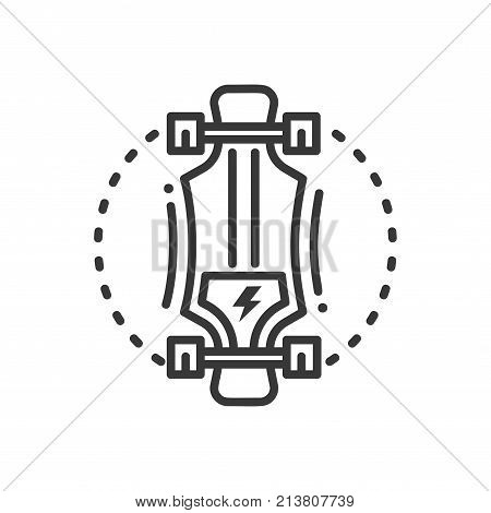 Electric longboard - line design single isolated icon on white background. Popular modern transporter with a motor. High quality image, pictogram