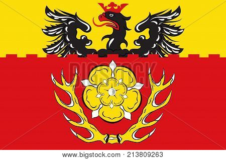 Flag of Hildesheim is a district in Lower Saxony Germany. Vector illustration