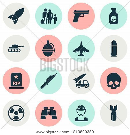 Includes Icons Such As Weapons, Fugitive, Ordnance And Other.  Battle Icons Set.