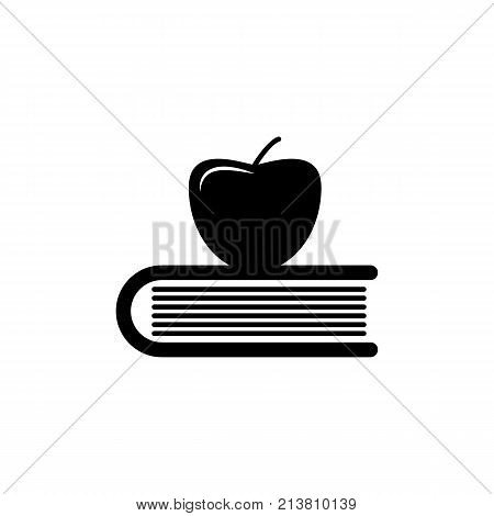 Apple on book knowledge icon. Vector graduation Icon. Education academic degree. Premium quality graphic design. Signs outline symbols collection simple icon for websites web design mobile app on white background