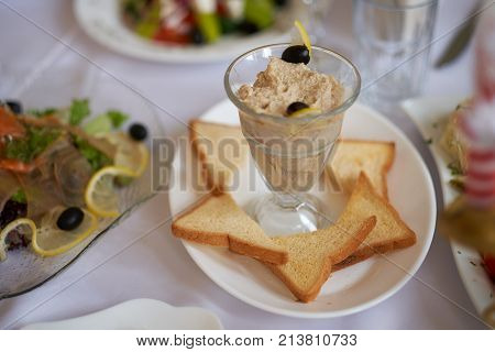 Herring roe with dill on the plate