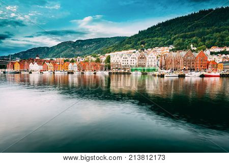 Bergen, Norway. View Of Historical Buildings Houses In Bryggen - Hanseatic Wharf In Bergen, Norway. UNESCO World Heritage Site. Famous Landmark. Destination Scenic