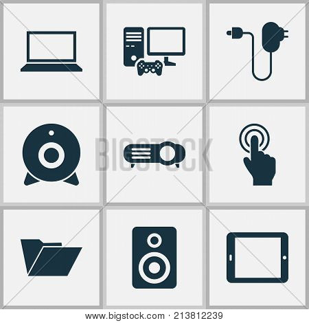 Includes Icons Such As Laptop, Amplifier, Palmtop And Other.  Digital Icons Set.