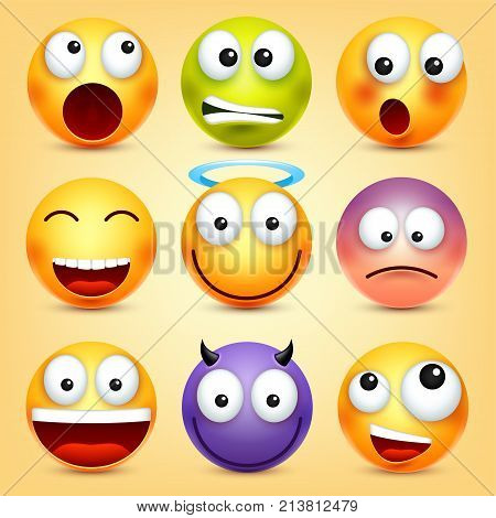 Smiley, emoticons set. Yellow face with emotions. Facial expression. 3d realistic emoji. Funny cartoon character.Mood. Web icon. Vector illustration.
