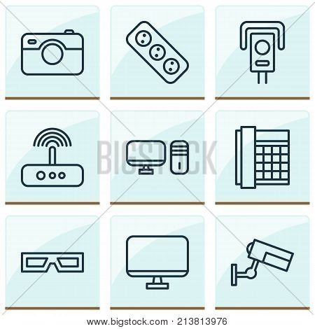 Includes Icons Such As Work Phone, Switch, Personal Computer And Other.  Hardware Icons Set.