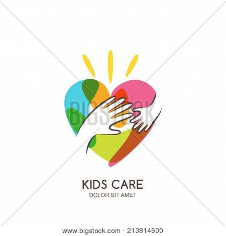 Kids Care, Family Or Charity Vector Logo Emblem Design Template. Hand Drawn Heart With Baby And Adul