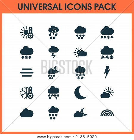 Includes Icons Such As Sunset, Winter, Colors And Other.  Weather Icons Set.