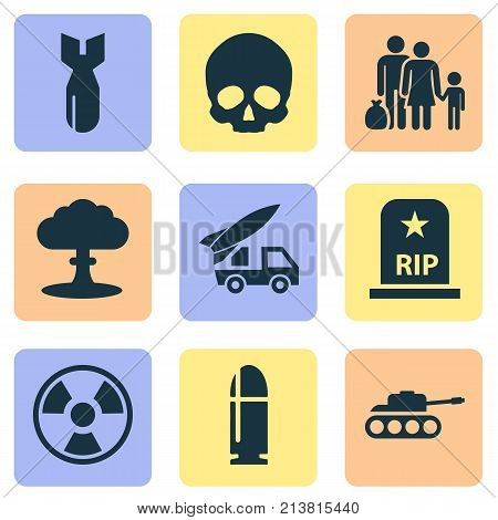 Includes Icons Such As Panzer, Rocket, Rip And Other.  Warfare Icons Set.