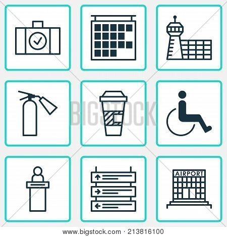 Includes Icons Such As Fire Extinguisher, Takeaway Coffee, Accessibility And Other.  Travel Icons Set.