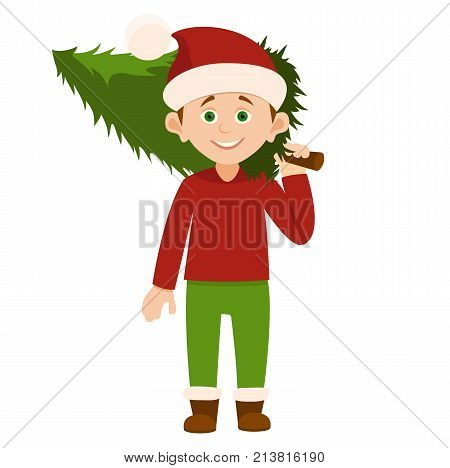 Santa Claus kids cartoon elf helpers vector illustration. Santa Claus elf helpers children. Santa helpers traditional costume.Santa Claus elf holding christmas tree isolated on white background