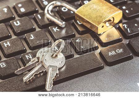 Lock of Computer chip analysis repair of PC laptop. Protection concept Antivirus