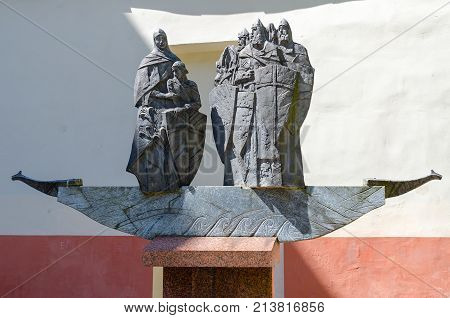 POLOTSK BELARUS - MAY 19 2017: Monument to Krivichs - founders of Polotsk Polotsk Belarus