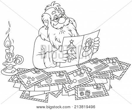 Santa Claus reading letters and postcards from children