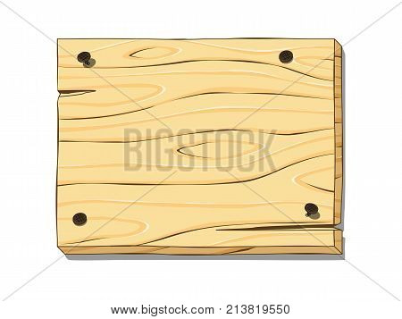 Wooden board is nailed with curved nails. Cartoon vector illustration.