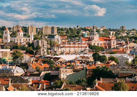 Vilnius, Lithuania. Orthodox Church Of The Holy Spirit, Church Of The Blessed Virgin Mary Of Consolation, Church Of St. Casimir.